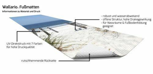 Wallario Duschmatte 180 x 65 cm Blick Strand meer blick strand sand düne blau