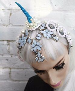 UNICORN BLUE DIAMANTE GEM HORNED FLOWER CROWN PASTEL GOTH HEADBAND ... b5b10f93c5c