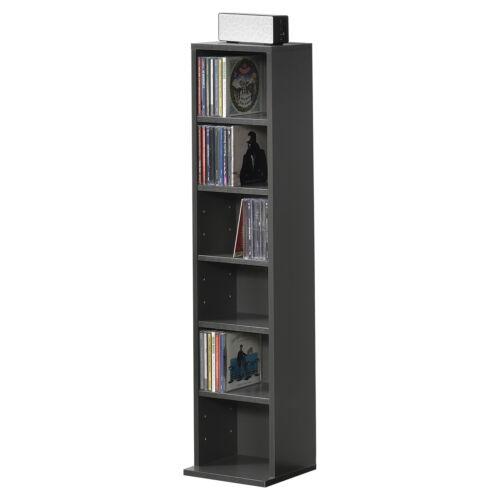 en.casa Bücherregal CD Regal Standregal Regal Aufbewahrung 6 Fächer Dunkelgrau