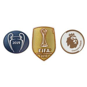 SET 2019 UEFA CHAMPIONS LEAGUE LIVERPOOL KIT FOOTBALL SHIRT IRON ON PATCH BADGE