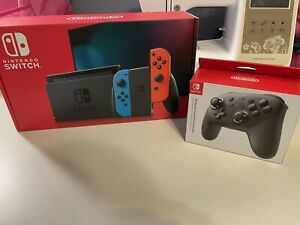 Nintendo Switch 32GB Neon Red/Neon Blue With Pro Controller And 128gb Sd Card