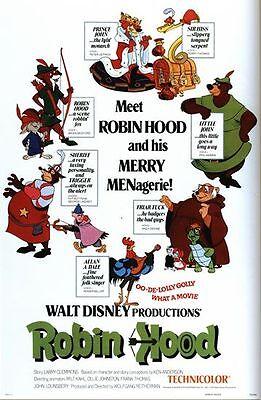 Vintage Disney Robin Hood Movie Poster A3//A2//A1 Print