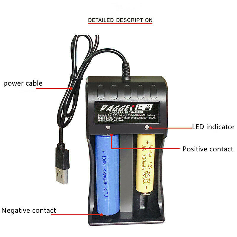 2-slot 18650 3.7V smart quick charging USB battery charger with LED indicator