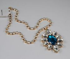 GOLD TONE TURQUOISE BLUE FACETED DIAMANTE CRYSTAL FLOWER PENDENT  NECKLACE
