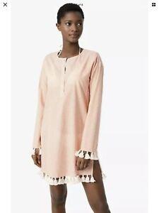 NWT. Tory Burch Sandy Women's Beach Tunic Medium M. Stripe Cotton Dress Kaftan.