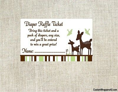 Baby Shower Diaper Raffle Cards Tickets WILLOW DEER Party Game Favors