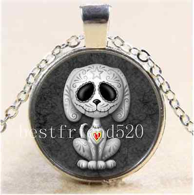 Grey Zombie Sugar Puppy Cabochon Glass Tibet Silver Chain Pendant Necklace