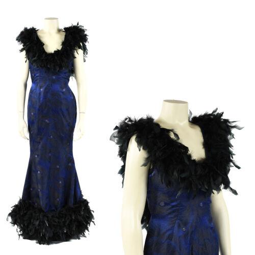 Vintage 50s 60s Blue Satin Brocade Black Feather T