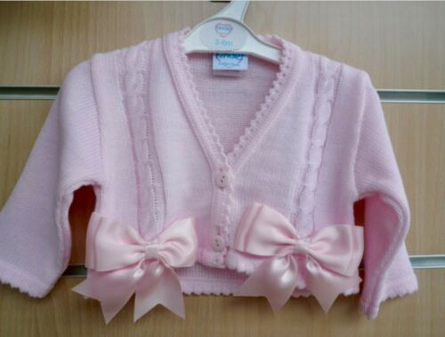 Girls Spanish Style Bow Cardigan in Pink /& Cream 12-18 /& 18-24 mts only REDUCED