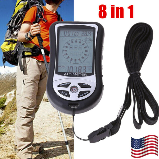 New 8 In 1 Digital Multifunction LCD Compass Altimeter Barometer Thermometer
