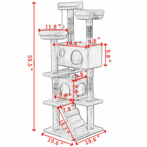 "60/"" Cat Tree Tower Condo Furniture Scratch Post Pet Kitten Play House Kitty"
