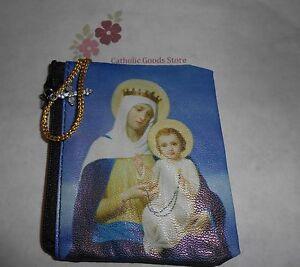 Weich-Blau-Unsere-Lady-mit-Jesus-Vinyl-Reissverschluss-Rosenkranz-Schutzhuelle