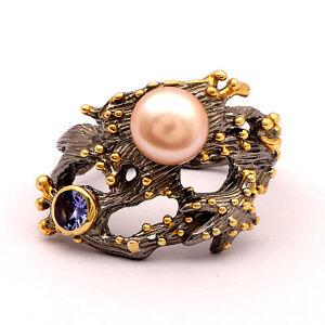 Triangle Ring Natural Pave Diamond Tanzanite Gemstone 925 Solid Sterling Silver Antique Vintage Victorian Handmade Fine Designer Jewelry