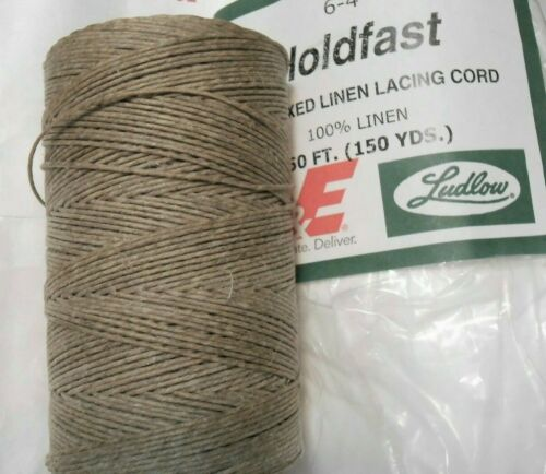 Holdfast waxed LINEN lacing 6-4 cord thread rug braiding weaving twine 4-ply 4oz