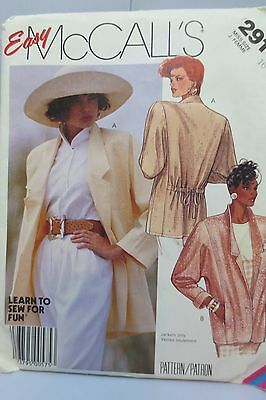 Vintage McCall's 1987 sewing pattern, misses unlined jacket   size 16, UNCUT