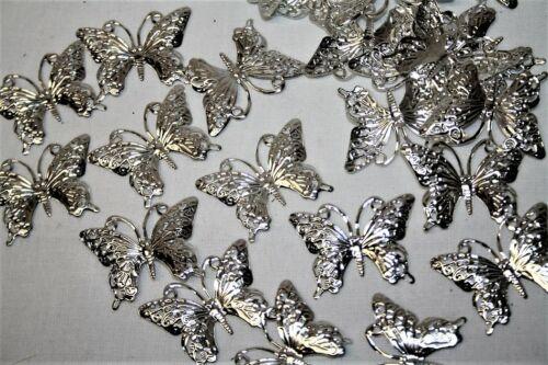 24 mariposas plata metal para artesanía adornos de boda tarjeta de hacer