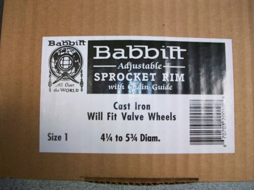 BABBITT ADJUSTABLE SPROCKET RIM WITH CHAIN GUIDE SIZE 1-4-1//4 to 5-3//4 DIAM.