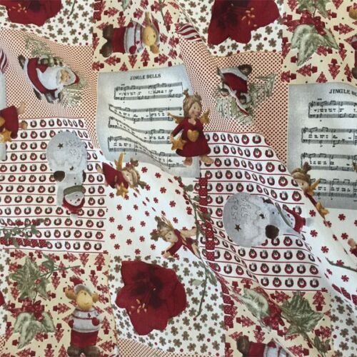 Navidad Musical Santa Muñeco De Nieve cotton linen Mira tapicería Panamá Tela