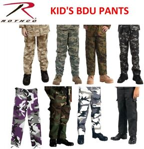 enjoy cheap price 100% authentic low priced Details about Kids BDU Cargo Fatigue Pants Kids Camouflage Pants Military  Rothco BDUs