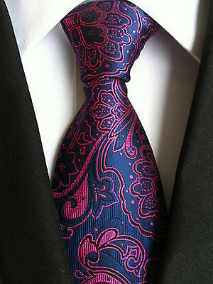 NT121 Formal Man Tie Red Blue Floral Business Wedding Office Party Men Necktie