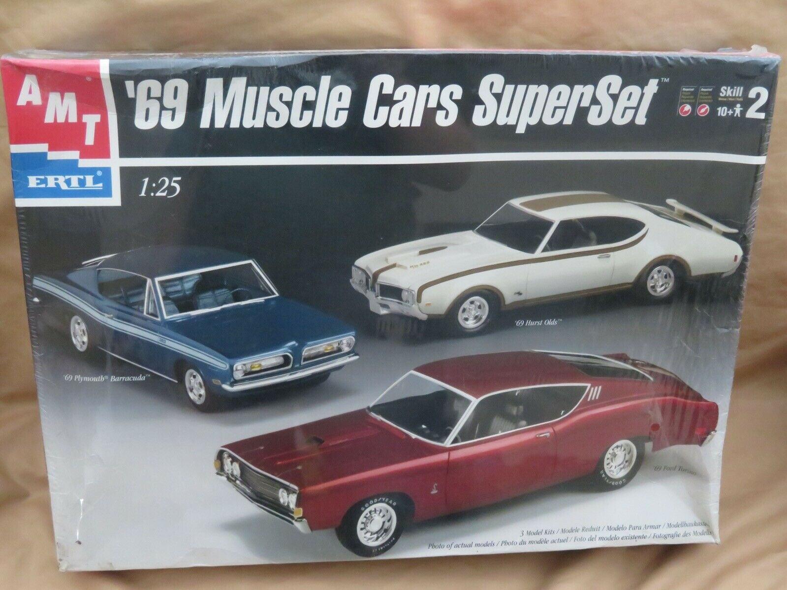 Neu Ovp Amt Ertl '69 Muskel Autos Super Set Modelll Bausatz '69 Cuda Hurst