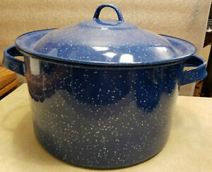 Vintage-Dark-Blue-and-White-Graniteware-Enamelware-Large-Soup-Pot-amp-Lid-12-034-Dia