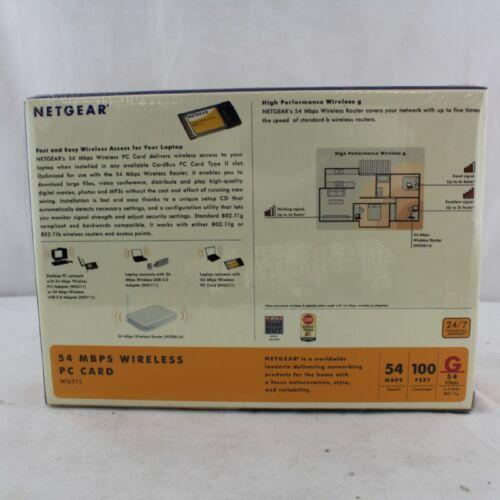 New in Package Netgear wg511vcna 54 MBPS Wireless G PC Card Wifi Network