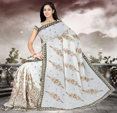 BLANC Indien mariage Sari Saree Ventre Danse ROBE KAFTAN Stoff neuf