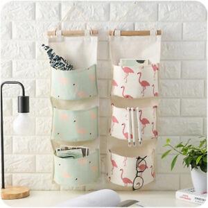 Flamingo-impression-sac-de-rangement-3Pockets-mur-placard-accrocher-sac