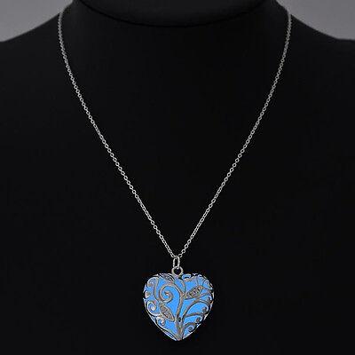 Fairy Magic Luminous Steampunk Heart Locket Glow In The Dark Pendant Necklace