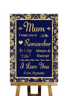 2019 Mode Blue And Gold Message For Mum Personalised Wedding Sign