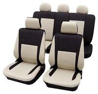 Black & Beige Elegant Car Seat Cover Set - For Mercedes C-class 2000-2007