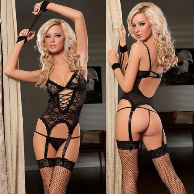 New Sexy Lingerie Women Black Lace Dress+G string+Handcuff+Garter Belt+Stockings