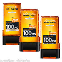 (14,83€/l) 3x 300ml Loreal Men Expert Hydra Energy Taurine Shower Gel 100mg