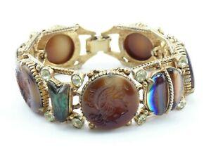 Vintage-Signed-FLORENZA-Intaglio-Cameo-Art-Glass-Rhinestone-Gold-Tone-Bracelet