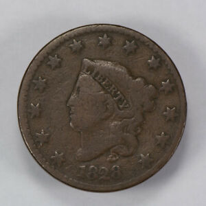 1828 1c CORONET HEAD LARGE CENT, NICE DETAIL EARLY COPPER COIN LOT#N448
