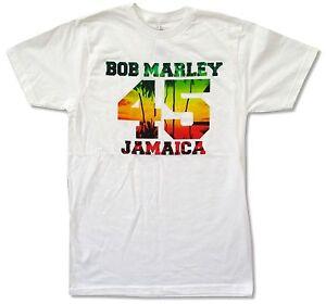 Bob-Marley-45-Jamaica-Blanc-T-Shirt-Nouveau-Officiel-Adulte-Reggae-Rasta
