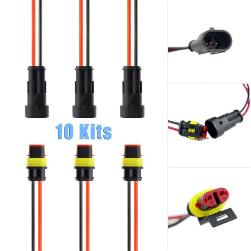 10pcs// Kit 2-Pin Way Car Waterproof Electrical Connector Plug w// Wire AWG Marine
