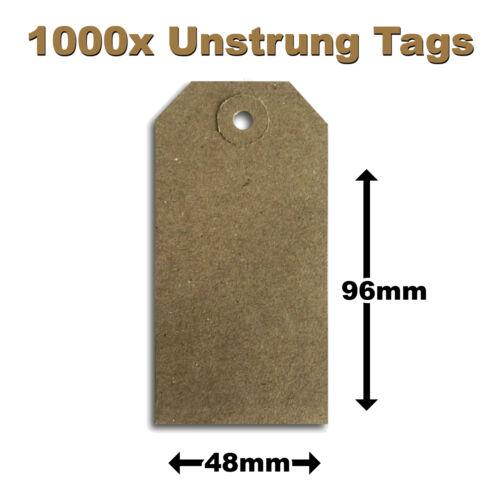 I3 1000 x Brown Buff UNSTRUNG Reinforced Tags 96x48mm Unstrung Tickets 3MU