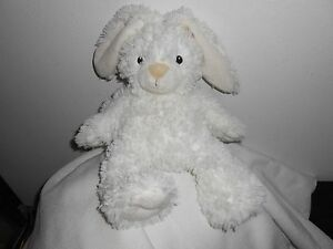"FIRST IMPRESSIONS PLUSH bunny white TAN ears LOVEY 13"" BIG NOSE rabbit baby"