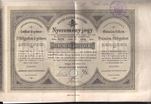 HONGRIE HUNGARY 1884 OBLIGATION à PRIMES LOAN BOND Obligation