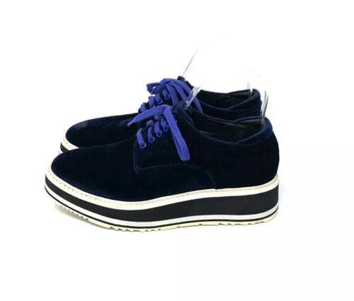 Prada Blue Velvet Platform Oxfords Women's Size 6/