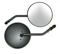 Black Classic Round 4.5 Dia Long Stem Rh Mirror For Harley And Custom Models
