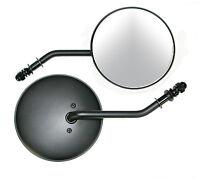 Black Classic Round 4.5 Dia Long Stem Rh Mirror For Harley And Custom Models