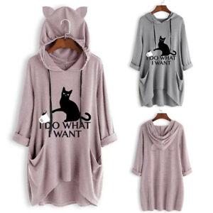 Women-Casual-Print-Cat-Ear-Hooded-Long-Sleeves-Pocket-Irregular-Top-Blouse-Shirt