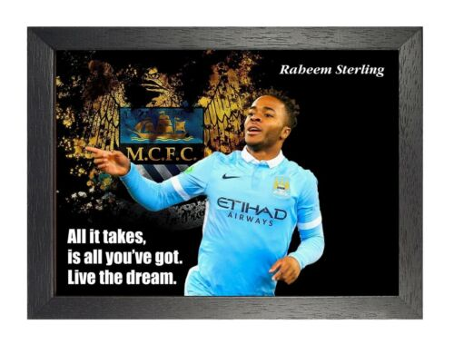 Raheem Sterling 6 English Footballer Poster Sport Star Photo Motivation Quote