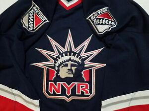 New-York-Rangers-jersey-Mens-XL-extra-large-retro-Pro-Player-Blue-Lady-Liberty