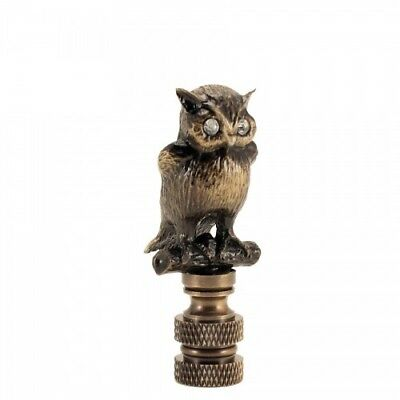 New, Antique Brass Night Owl With Clear Glass Eyes Finials,Lamp Shade Topper