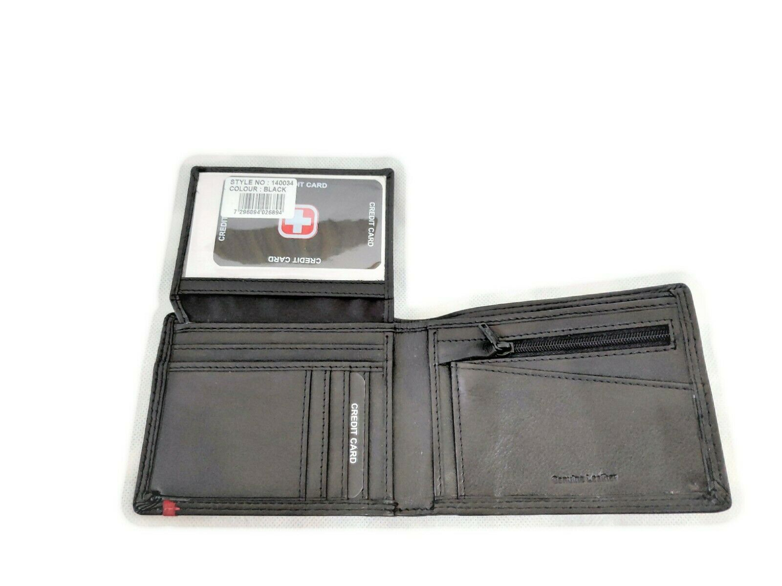 Mens Swiss Genuine Leather Large Trifold Wallet Credit Card Id Purse