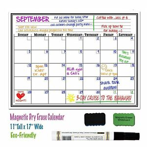 picture relating to Monthly Organizer named Data more than 17 x 11 Magnetic Dry Erase Fridge Calendar Board Every month Organizer Planner